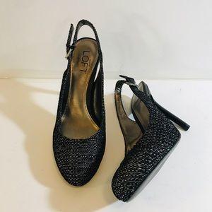 Ann Taylor Loft Black/White Sling Back Heels-Sz 6